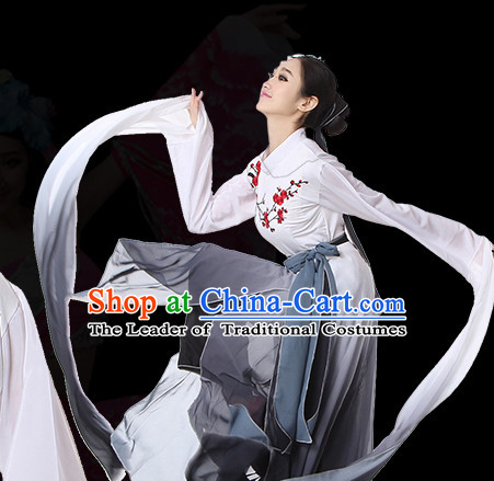 Long Sleeves Chinese Classical Dance Costumes Leotards Dance Supply Girls Clothes and Hair Accessories Complete Set
