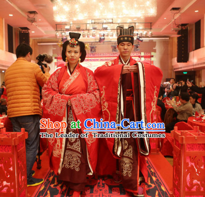 Western Zhou Dynasty Wedding Dress Clothing Clothes Garment and Hair Accessories for Men