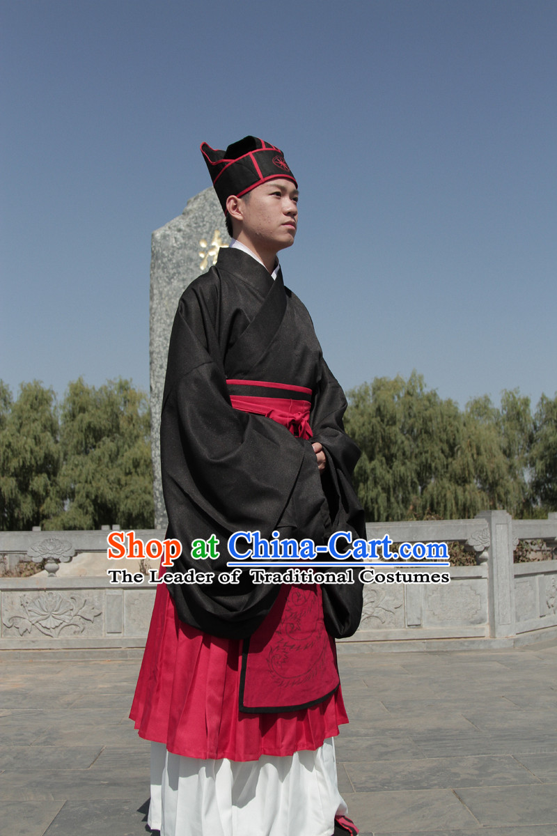 Chinese Western Zhou Dynasty Dong Zhou Xuan Duan Ceremonial Clothing Outfit Garment Clothes and Hat Complete Set