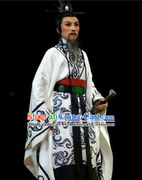 Eastern Zhou Dynasty Spring and Autumn Patriotic Poet Official Qu Yuan Stage Clothing Complete Set for Men
