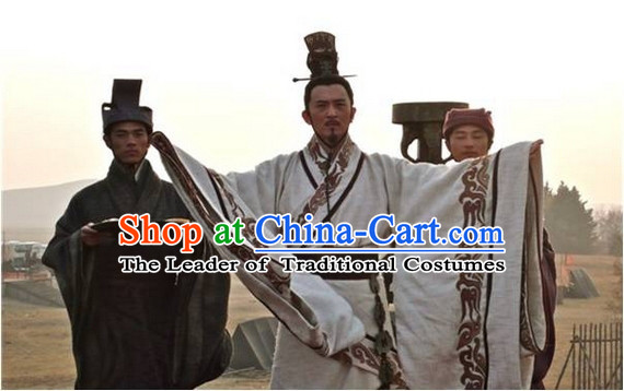 Eastern Zhou Dynasty Spring and Autumn Official Chinese Poet and Minister Qu Yuan TV Drama Chinese Costume Complete Set for Men