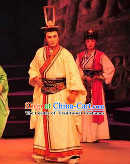 Eastern Zhou Dynasty Chinese Spring Autumn Period Guan Zhong Prime Minister Costume and Hat Complete Set for Men