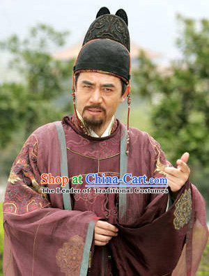Ancient Chinese Tang Dynasty Duke Official Chancellor Du Ruhui Costume Complete Set for Men