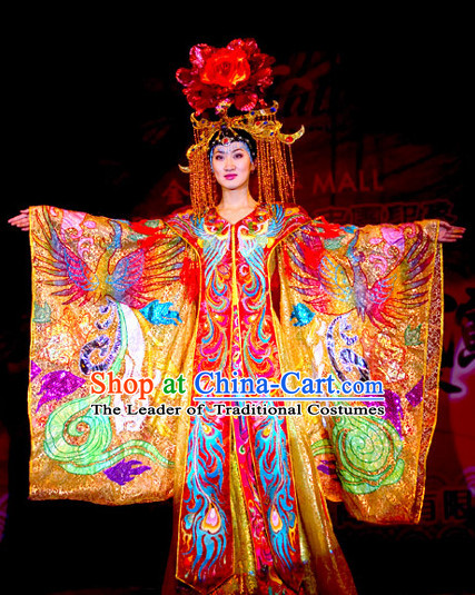Tang Dynasty Empress Imperial Opera Costumes Garment Outfits Clothing Costumes Costume and Hair Accessories Complete Set for Women