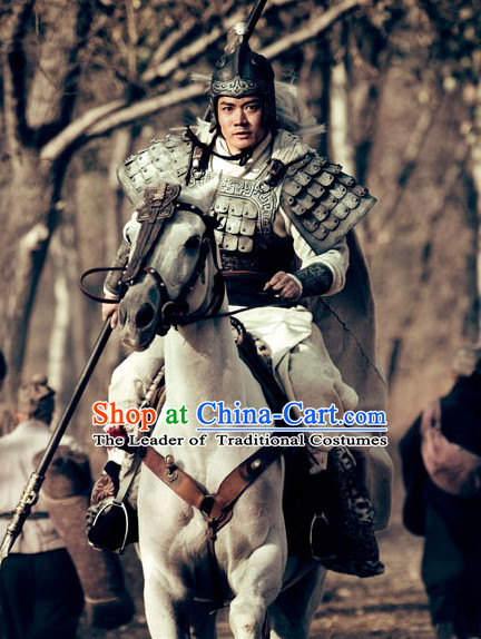Ancient Chinese Costume Three Kingdoms Knight Body Plate Armor Costumes Garment Outfits Clothing and Helmet for Men