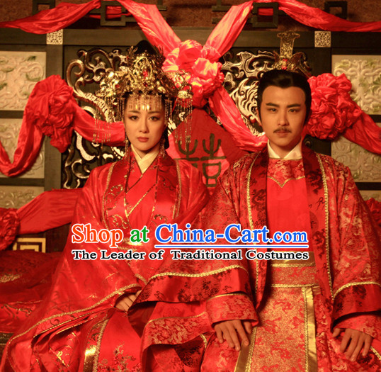 Ancient Chinese Costume Three Kingdoms Wedding Dresses and Hair Accessories Complete Set for Men Women
