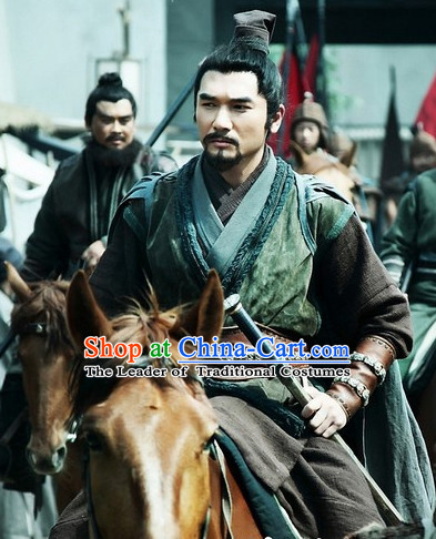 Three Kingdoms Chinese Costume Chinese Liu Bei Costumes Clothing Clothes Garment Outfits Suits for Men