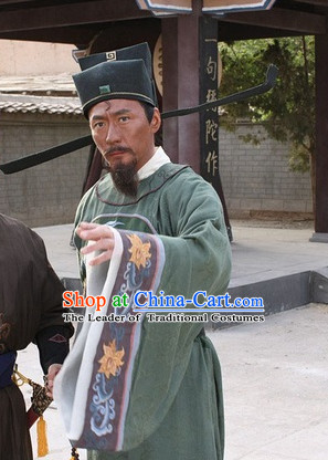 Song Dynasty Bao Zheng Lord Bao Government Officer Costume Costumes Dresses Clothing Clothes Garment Outfits Suits Complete Set for Men