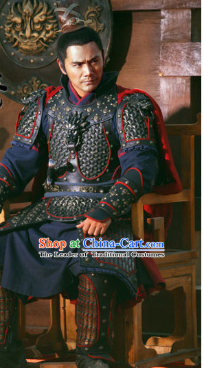 Song Dynasty General Yue Fei Superhero Body Armor Costume Costumes Dresses Clothing Clothes Garment Outfits Suits Complete Set for Men