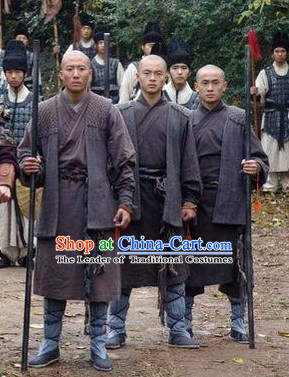 Ming Dynasty Shaolin Monk Costumes Dresses Clothing Clothes Garment Outfits Suits Complete Set for Men