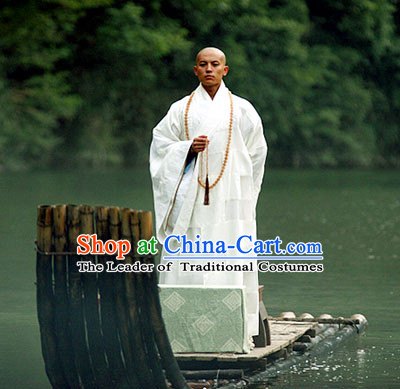 Ming Dynasty Shaolin Abbot Costumes Dresses Clothing Clothes Garment Outfits Suits Complete Set for Men