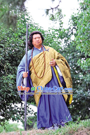 Ming Dynasty Abbot Monk Costumes Dresses Clothing Clothes Garment Outfits Suits Complete Set for Men