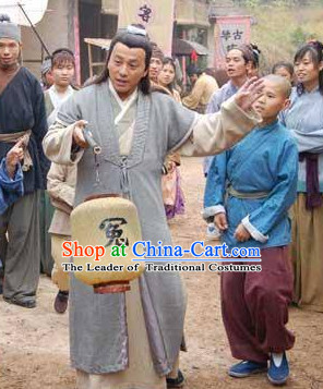 Ming Dynasty Writer Shi Naian Costumes Dresses Clothing Clothes Garment Outfits Suits Complete Set for Men
