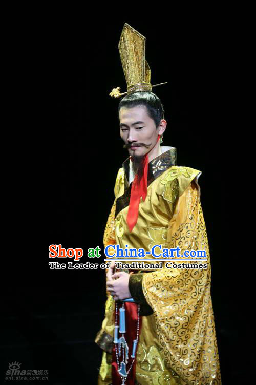 Chinese Costume Han Dynasty Warlord Penultimate Chancellor Cao Cao Costumes Dresses Clothing Clothes Garment Outfits Suits Complete Set for Men