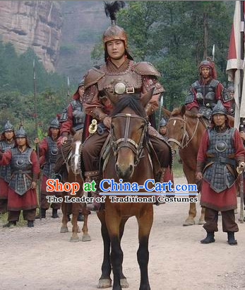 Ming Dynasty Military General Chang Yuchun Armor Costumes Dresses Clothing Clothes Garment Outfits Suits Complete Set for Men