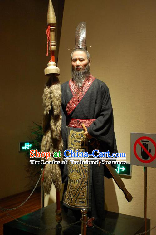 Chinese Han Dynasty Prime Minster Costumes Dresses Clothing Clothes Garment Outfits Suits Complete Set for Men