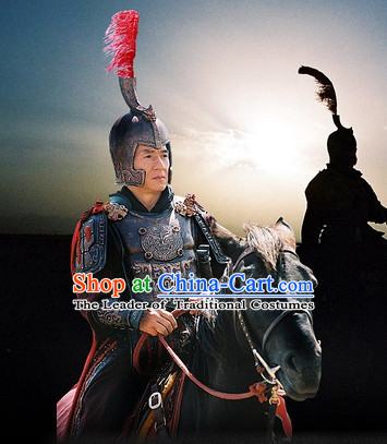 Chinese Qin Dynasty General Wang Jian Armor Costumes Dresses Clothing Clothes Garment Outfits Suits Complete Set for Men