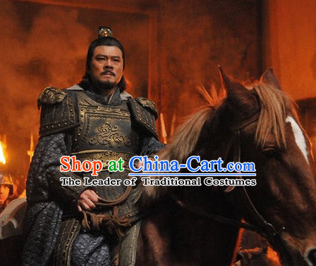 Chinese Qin Dynasty Superhero General Knight Swordsman Armor Costumes Dresses Clothing Clothes Garment Outfits Suits Complete Set for Men