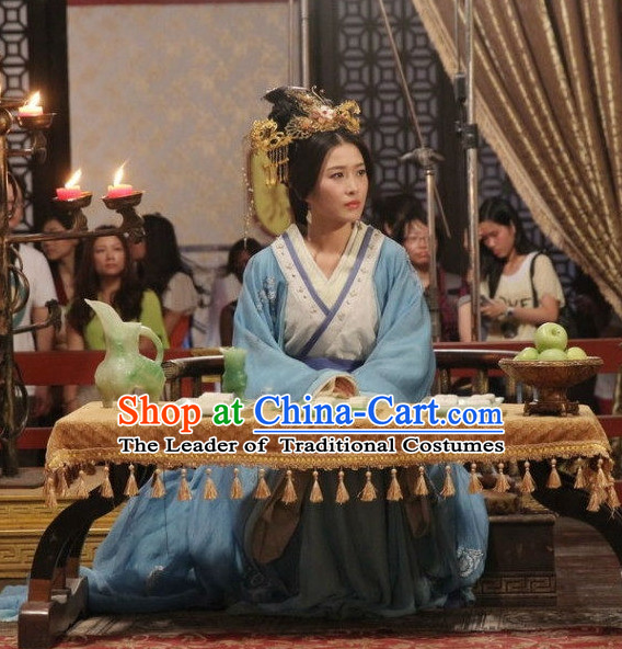 Chinese Han Dynasty Princess Costume Dresses Clothing Clothes Garment Outfits Suits Complete Set for Women