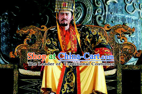 Chinese Qin Dynasty Emperor Qin Shi Huang Costumes Dresses Clothing Clothes Garment Outfits Suits Complete Set for Kids