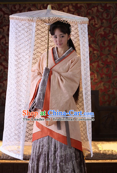 Chinese Han Dynasty Beauty Costume Dresses Clothing Clothes Garment Outfits Suits Complete Set for Women