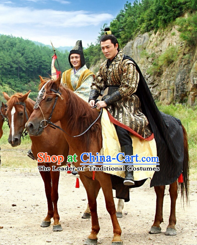Chinese Han Dynasty Emperor Costume Dresses Clothing Clothes Garment Outfits Suits Complete Set for Men