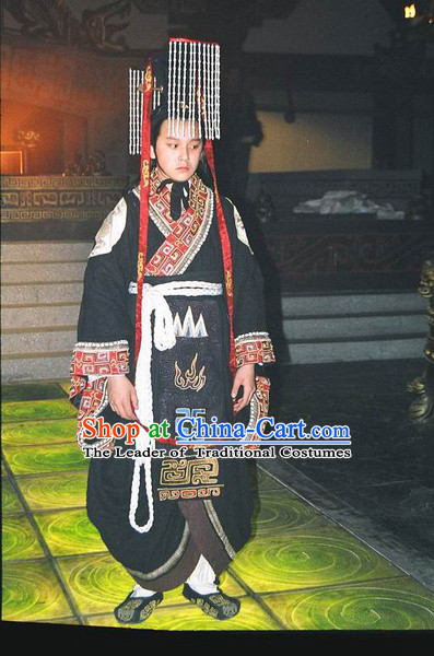 Chinese Qin Dynasty Emperor Qin Shi Huang Costumes Dresses Clothing Clothes Garment Outfits Suits Complete Set for Men