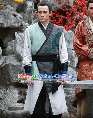 Chinese Qin Dynasty Swordsman Knight Costumes Dresses Clothing Clothes Garment Outfits Suits Complete Set for Men