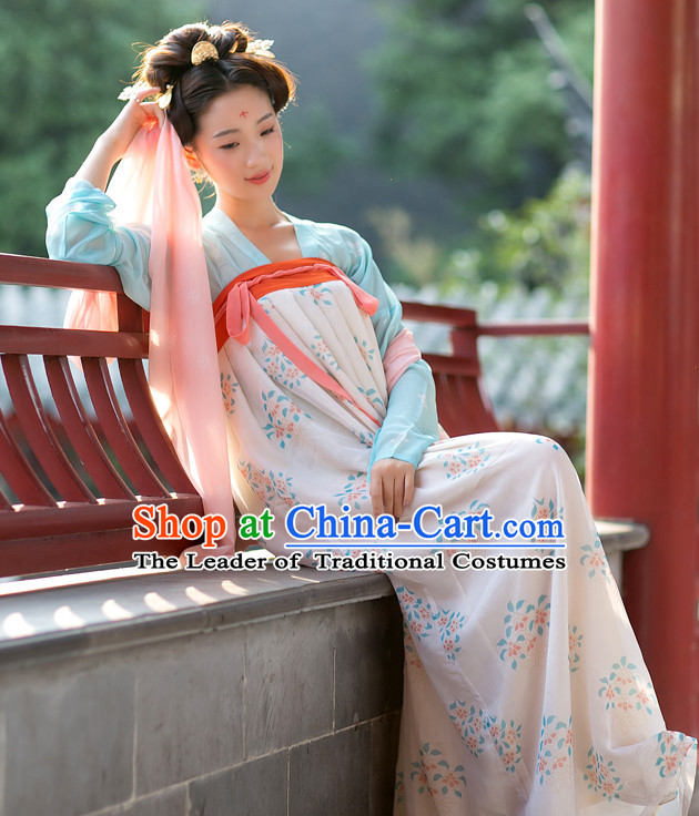 Tang Dynasty Ancient Chinese People Clothes and Hair Accessories Complete Set for Women