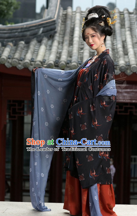 Tang Dynasty Ancient Chinese People Garment and Headpieces Complete Set for Women