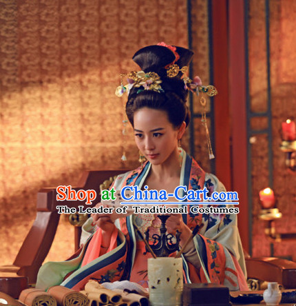 Chinese Ancient Style Tang Dynasty Imperial Wigs and Hair Jewelry Accessories Hairpins Headwear for Women