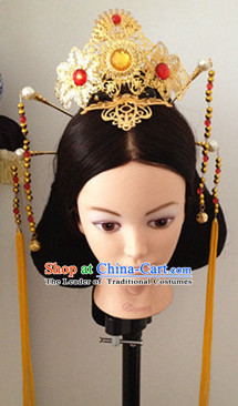 Chinese Tang Dynasty Black Long Wigs and Headwear Headpieces Hair Jewelry Headdress for Women