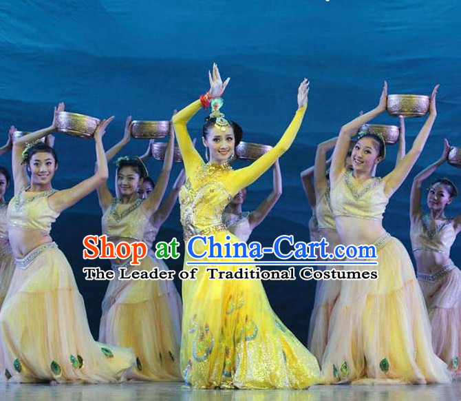 Chinese Classic Peacock Dance Costumes and Headwear Complete Set for Women