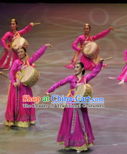 South Korean North Korea Chaoxian Ethnic Minority Drum Dance Costumes Complete Set for Women