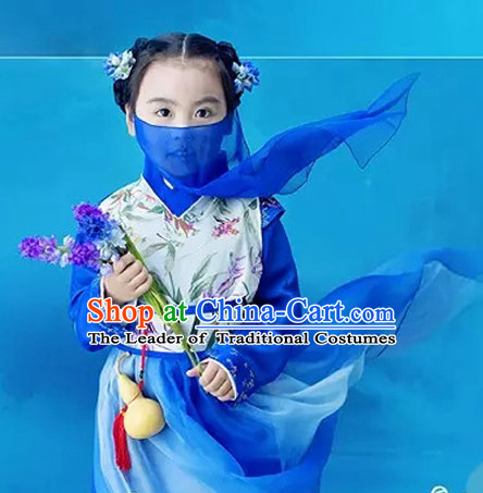 Chinese Cute Costume Ancient China Ethnic Costumes Han Fu Dress Wear Outfits Suits Clothing for Kids