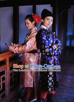 Chinese Tang Dynasty Clothes Clothing Costumes and Hair Accessories Complete Set for Men