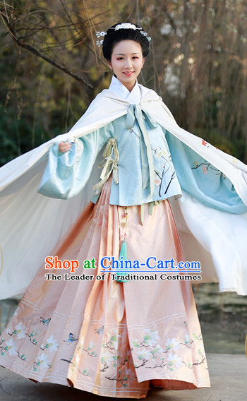 Ming Dynasty Clothing Chinese Classic Costume Ancient China Costumes Han Fu Dress Wear Garment Outfits Suits Clothing and Hair Accessories Complete Set for Women