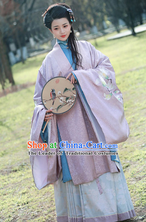 Ming Dynasty Clothing Chinese Classical Costume Ancient China Costumes Han Fu Dress Wear Garment Outfits Suits Clothing and Hair Accessories Complete Set for Women