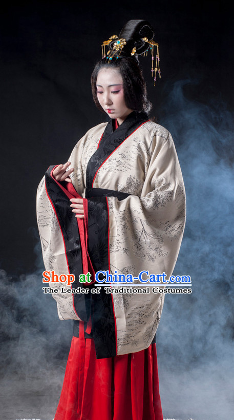 Ancient Chinese Han Dynasty Long Black Wigs for Women