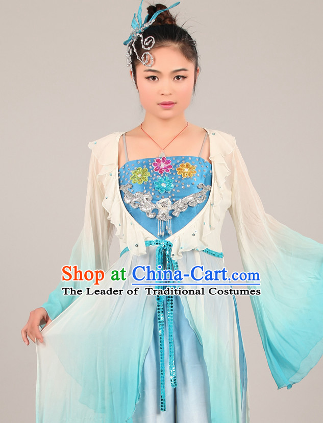 Chinese Costume Folk Chinese Group Dance Costumes Carnival Costumes Fancy Dress National Garment and Hair Accessories