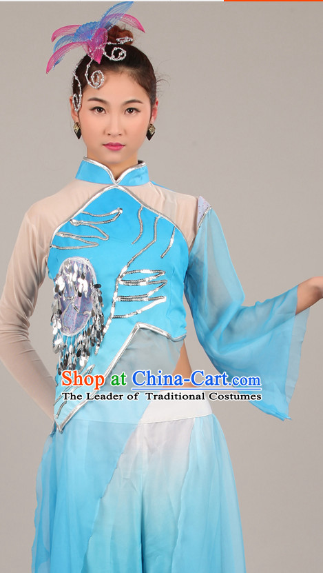 Blue Chinese Costume Folk Chinese Group Dance Costumes Carnival Costumes Fancy Dress National Garment and Hair Accessories