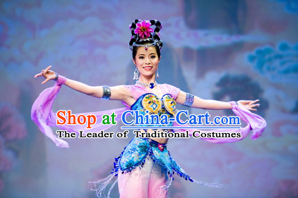 Chinese Fairy Costume Folk Chinese Group Dance Costumes Carnival Costumes Fancy Dress and Headwear Complete Set