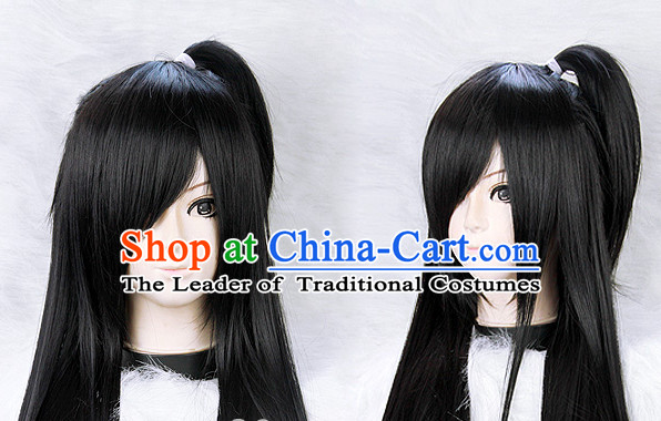 Black Chinese Ancient Knight Long Wigs Classic Wig for Women