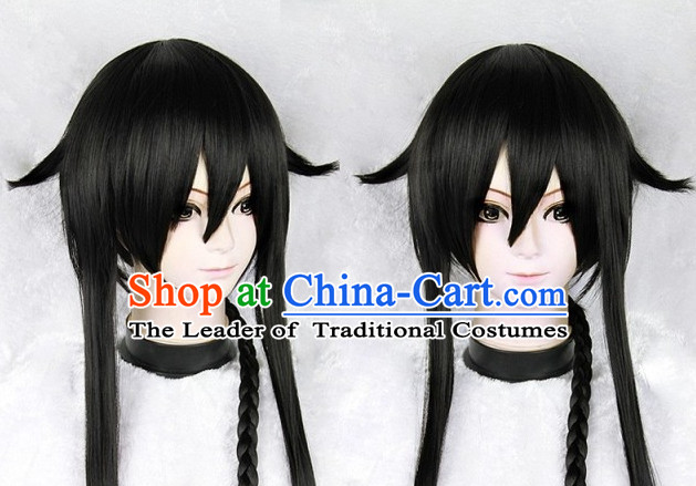 Black Chinese Ancient Knight Cosplay Long Wigs Classic Wig for Women