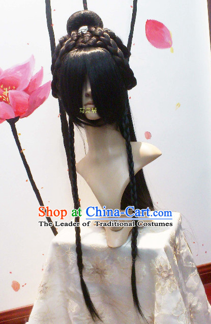 Ancient Asian Chinese Japenese Korean Knight Cosplay Long Wigs Classic Lace Front Toupee Hair Extensions Wig
