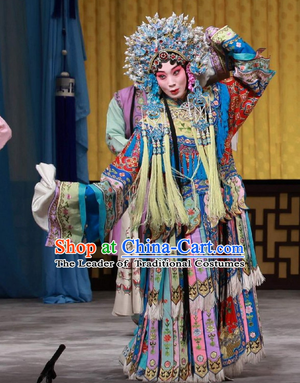 Ancient Chinese Asian Peking Opera Costumes Queen Empress Costume and Headwear Complete Set