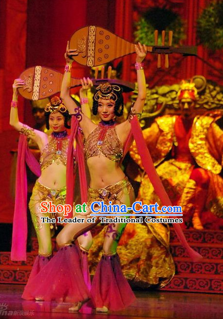 Ancient Chinese Asian Classical Dance Costumes Apsaras Costume and Headwear Complete Set