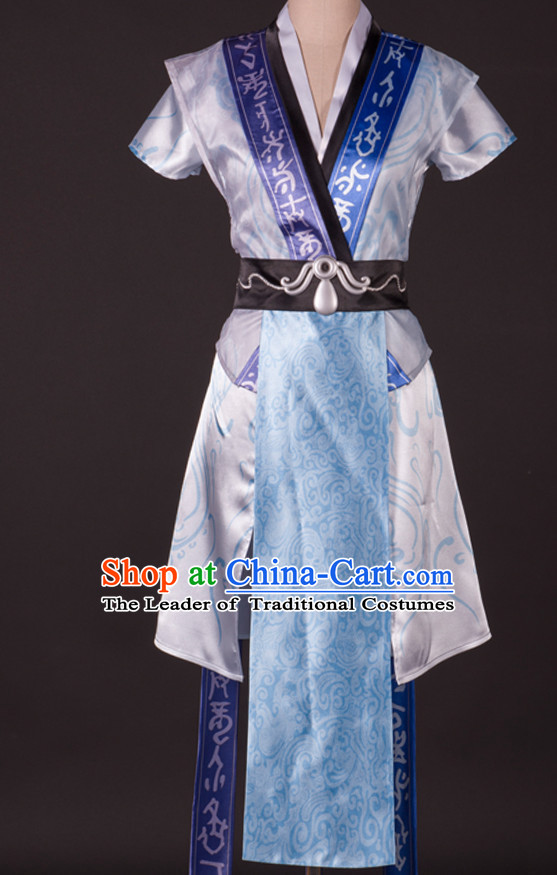 Ancient Chinese Knight Prince Cosplay Costumes and Hair Accessories Complete Set for Men