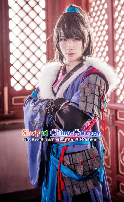 Ancient Chinese Swordsman Costumes and Hair Accessories Complete Set for Men