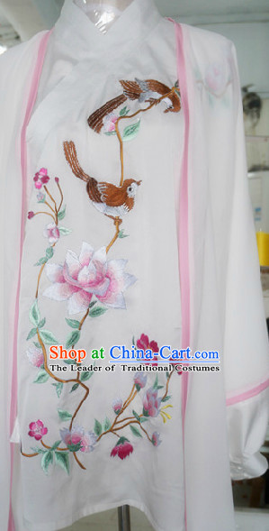 Top Embroidered Bird and Flower Tai Chi Chuan Uniform Taekwondo Karate Outfit Aikido Wing Chun Kungfu Wing Tsun Boys Martial Arts Supplies Clothing and Mantle